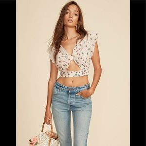 LPA Scalloped Edge Floral Crop Top.